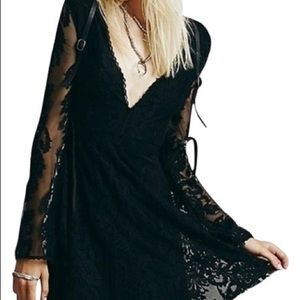 Free People Black Reign Over Me Lace Dress
